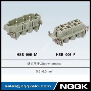 HSB 6, 12 pin male & female plug Insert heavy duty connector