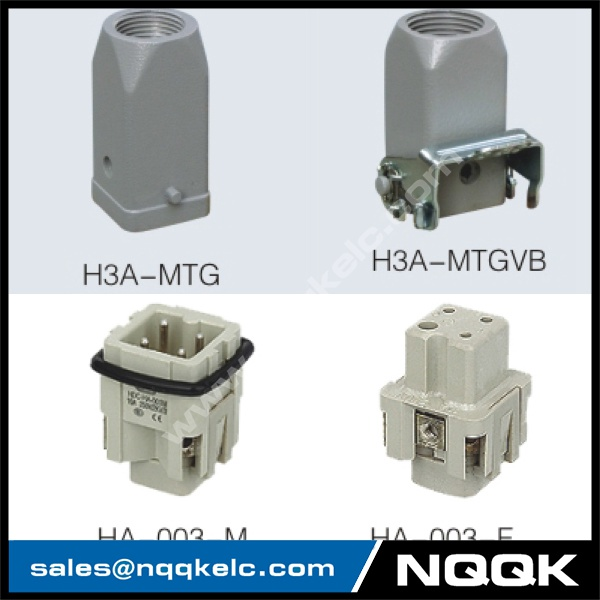 HA series 3 Poles of connector heavy duty power connector