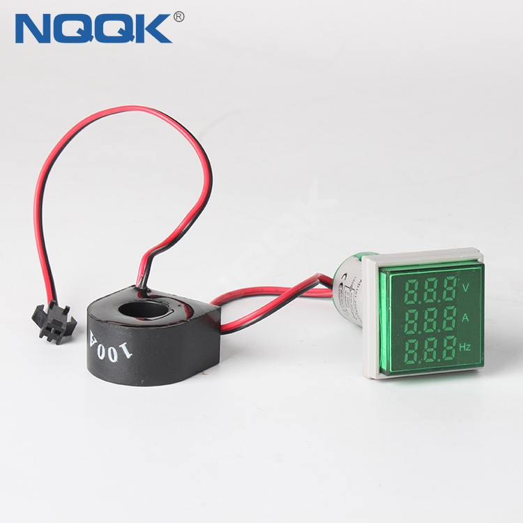 22mm Green Square LED Indicator Digital Voltmeter Ammeter Hz Frequency Multifunction Meter
